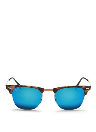 Main View - Click To Enlarge - Ray-Ban - 'Clubmaster Light Ray' titanium temple matte browline sunglasses