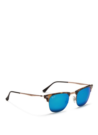 Figure View - Click To Enlarge - Ray-Ban - 'Clubmaster Light Ray' titanium temple matte browline sunglasses