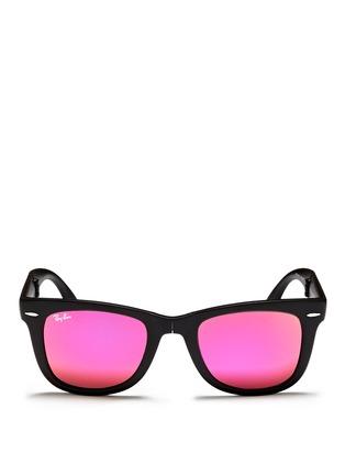 Main View - Click To Enlarge - Ray-Ban - 'Wayfarer Folding Classic' mirror sunglasses