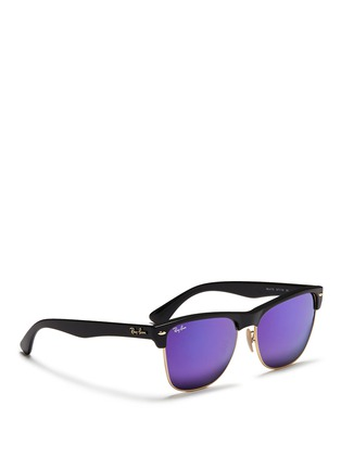 Figure View - Click To Enlarge - Ray-Ban - 'Clubmaster Oversized' matte plastic browline mirror sunglasses