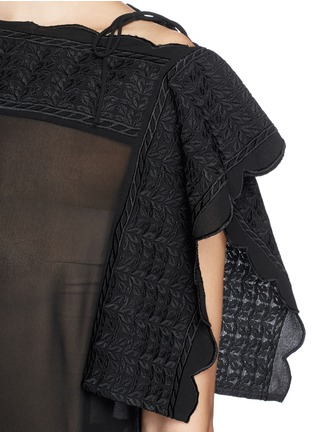 Detail View - Click To Enlarge - Isabel Marant Étoile - 'Audrina' scalloped leaf embroidery crepe top