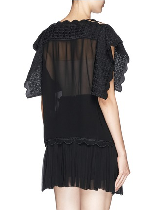 Back View - Click To Enlarge - Isabel Marant Étoile - 'Audrina' scalloped leaf embroidery crepe top