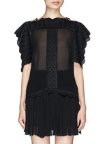 'Audrina' scalloped leaf embroidery crepe top