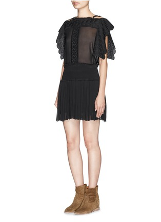 Figure View - Click To Enlarge - Isabel Marant Étoile - 'Audrina' scalloped leaf embroidery crepe top