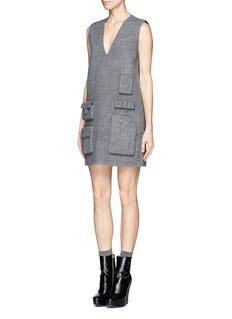 ALEXANDER WANG Multiple pocket felt sleeveless shift dress