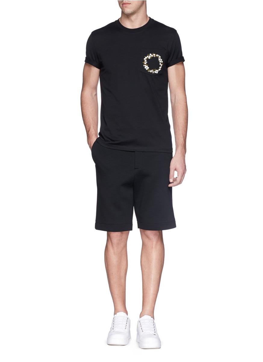 givenchy floral embroidery patch pocket t shirt on sale black crew neck t shirts. Black Bedroom Furniture Sets. Home Design Ideas