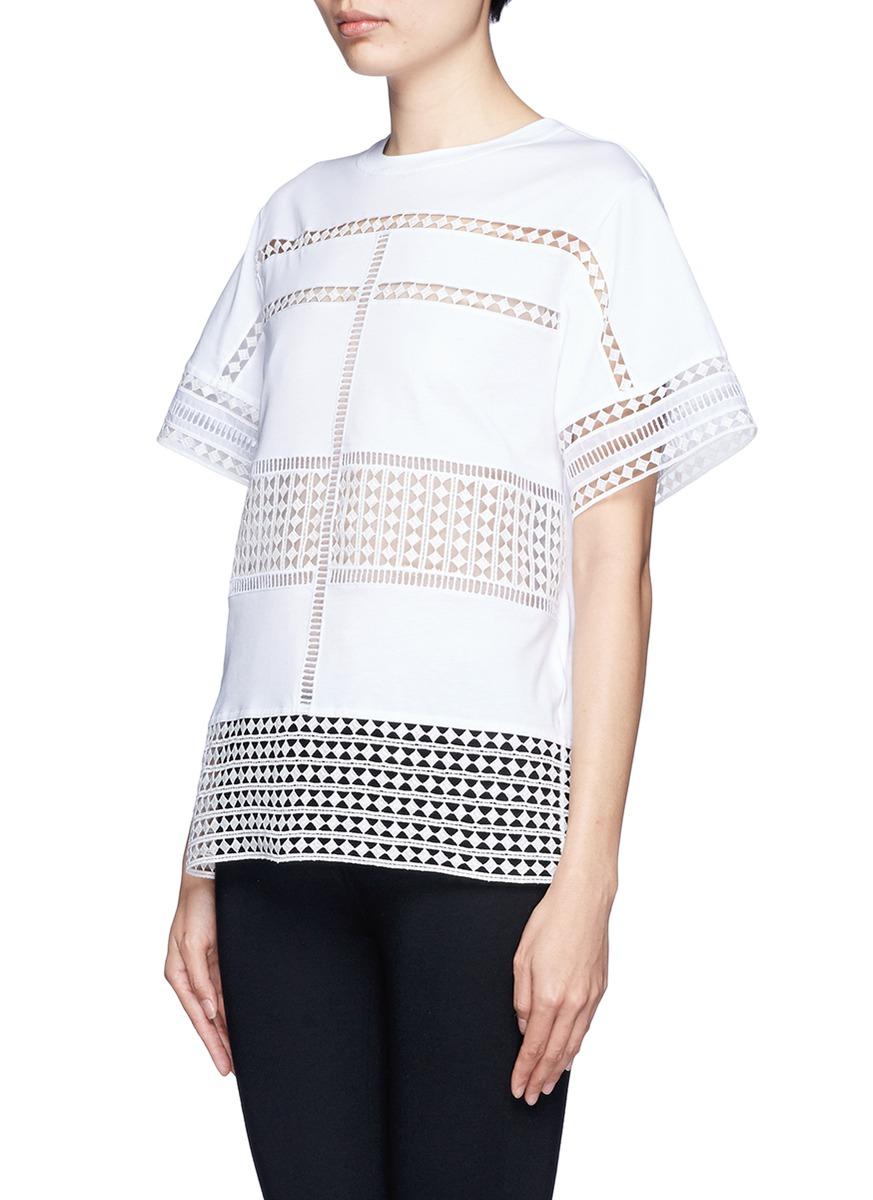 Chlo Diamond Lace Silk Organza Under Layer T Shirt On