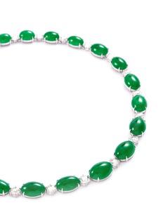 Samuel Kung Diamond jade 18k white gold necklace