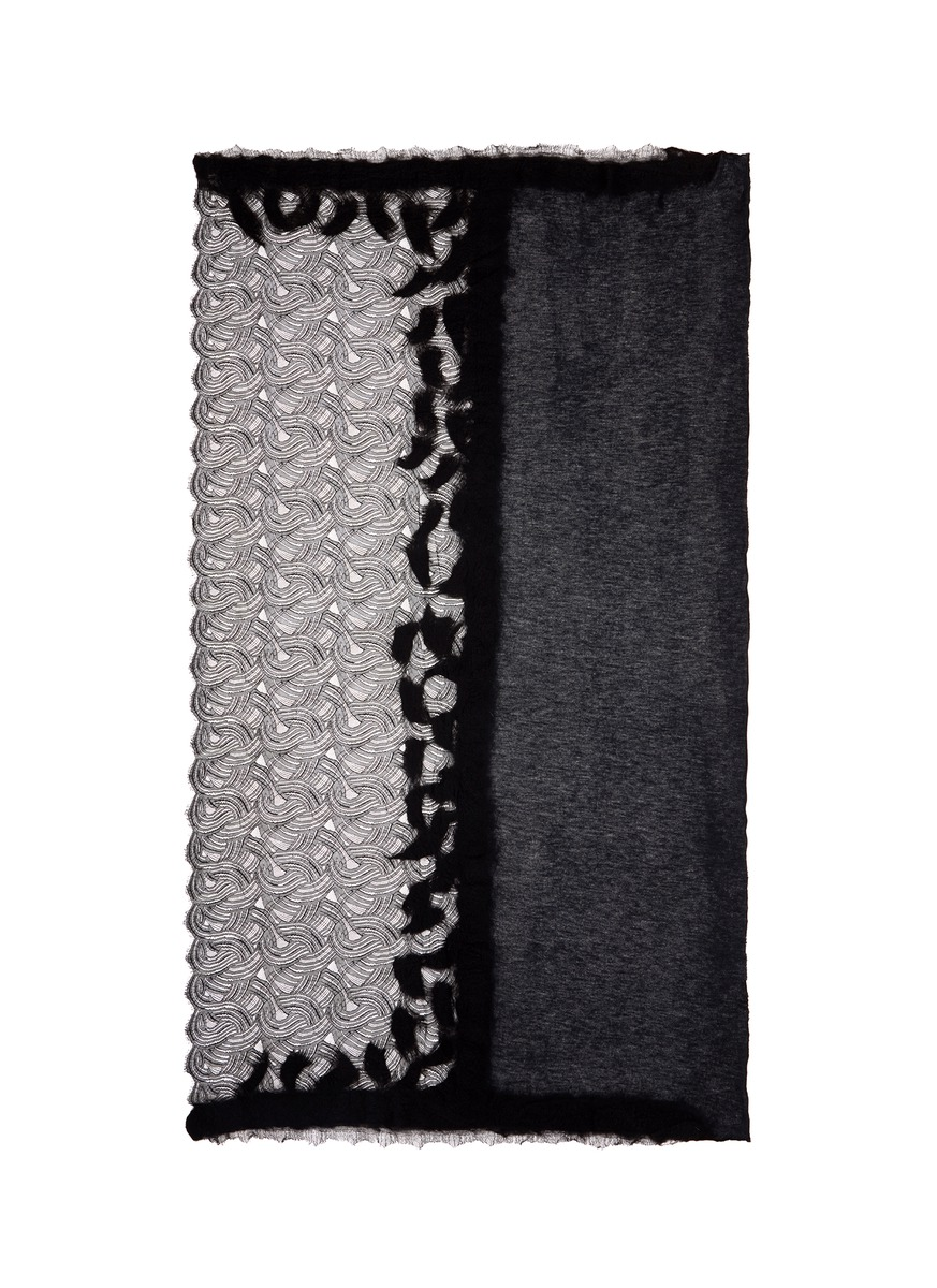 Lace border shimmer knit scarf by Franco Ferrari