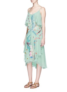 Temperley London'Chimera' bird and floral embroidered ruffle silk dress