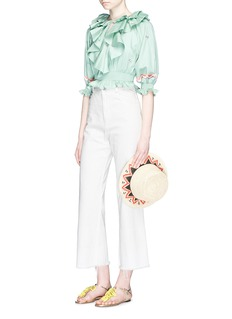 Temperley London'Spellbound' embroidered ruffle cropped cotton top