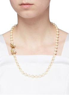 Miriam Haskell Crystal floral clasp Baroque pearl necklace