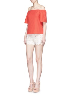 alice + olivia 'Amaris' floral cutout faux leather shorts