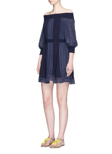 alice + olivia'Pammy' embroidered off-shoulder dress