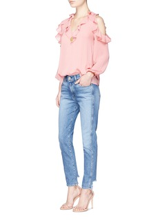 alice + olivia'Gia' ruffle cold shoulder crépon blouse