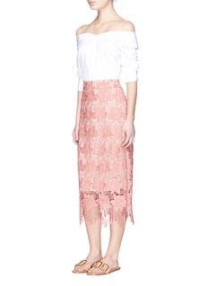 alice + olivia 'Strand' fringe hem floral lace pencil skirt