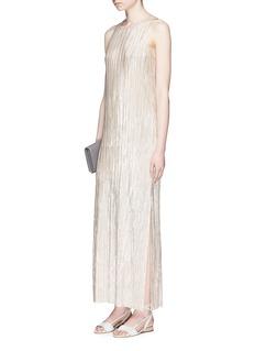 alice + olivia'Lucia' metallic plissé pleated slit dress