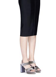 Frances Valentine 'Dizzie' glitter heel satin velvet platform sandals