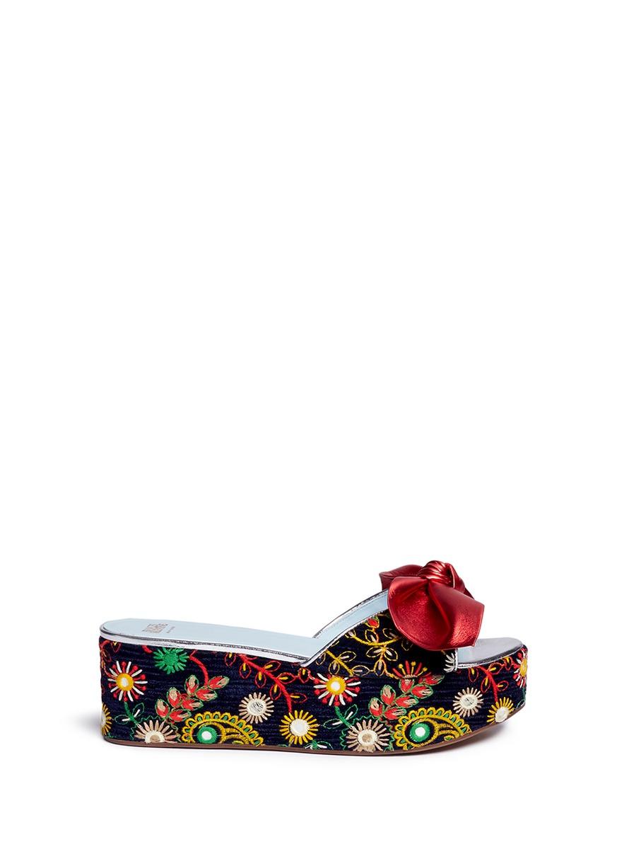 Darcy floral embroidered velvet platform sandals by Frances Valentine