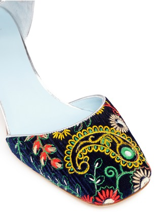 Detail View - Click To Enlarge - Frances Valentine - 'Ella' jewelled heel embroidered velvet Mary Jane pumps