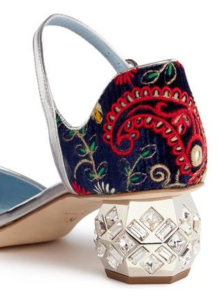 Detail View - Click To Enlarge - Frances Valentine - 'Ella' jewelled heel embroidered velvet Mary Jane pumps