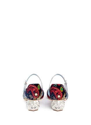 Back View - Click To Enlarge - Frances Valentine - 'Ella' jewelled heel embroidered velvet Mary Jane pumps