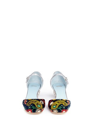 Front View - Click To Enlarge - Frances Valentine - 'Ella' jewelled heel embroidered velvet Mary Jane pumps