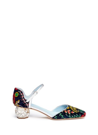 Main View - Click To Enlarge - Frances Valentine - 'Ella' jewelled heel embroidered velvet Mary Jane pumps
