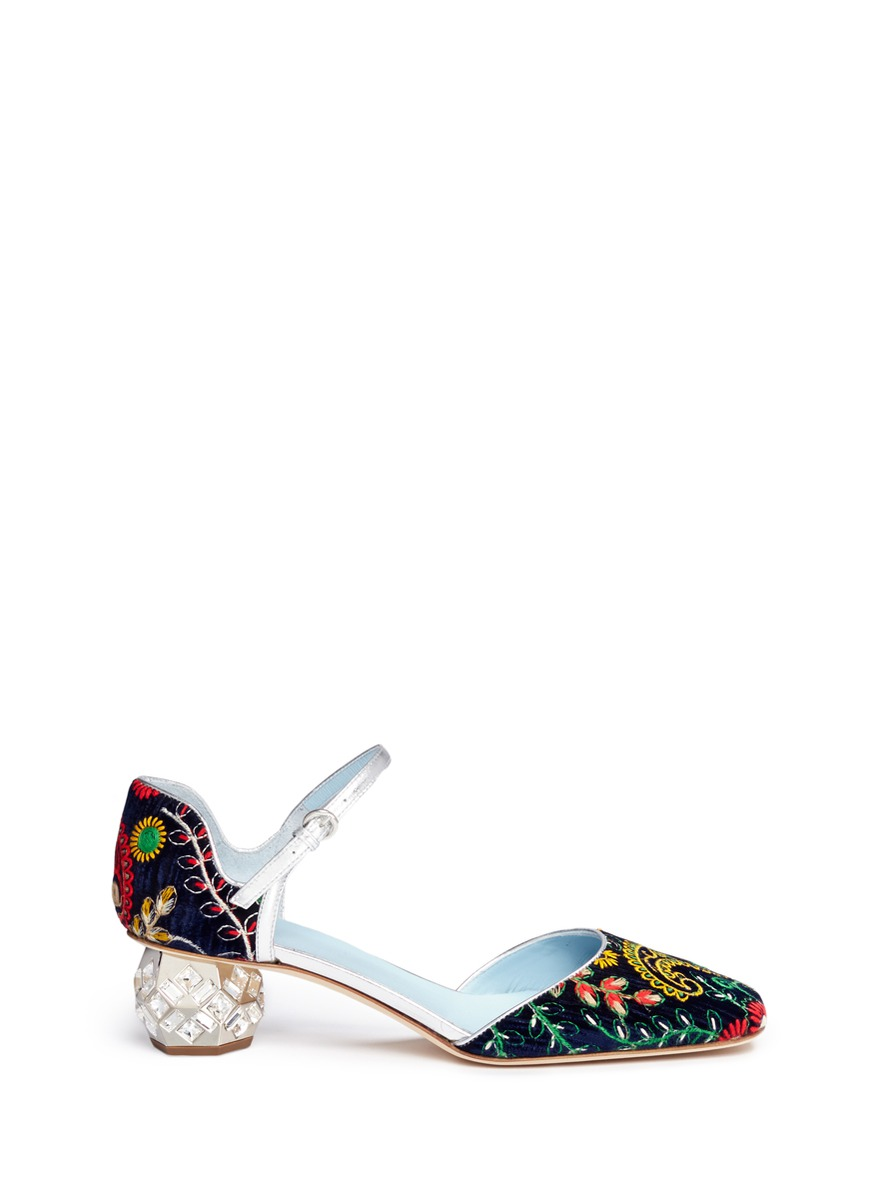 Ella jewelled heel embroidered velvet Mary Jane pumps by Frances Valentine