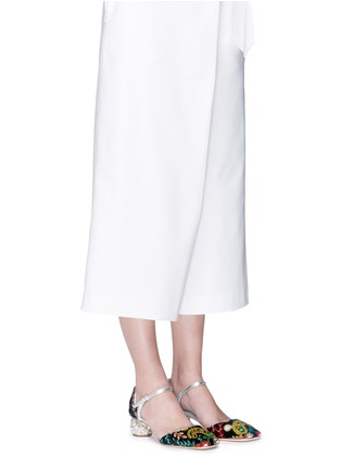 Figure View - Click To Enlarge - Frances Valentine - 'Ella' jewelled heel embroidered velvet Mary Jane pumps