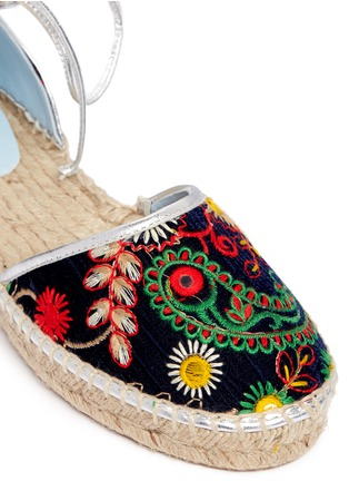 Detail View - Click To Enlarge - Frances Valentine - 'Jane' paisley embroidered d'Orsay espadrilles