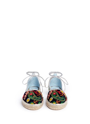 Front View - Click To Enlarge - Frances Valentine - 'Jane' paisley embroidered d'Orsay espadrilles