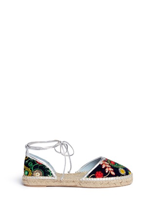 Main View - Click To Enlarge - Frances Valentine - 'Jane' paisley embroidered d'Orsay espadrilles