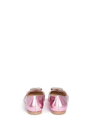 Back View - Click To Enlarge - Frances Valentine - 'Josephine' Swarovski crystal metallic leather flats