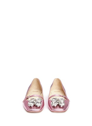 Front View - Click To Enlarge - Frances Valentine - 'Josephine' Swarovski crystal metallic leather flats