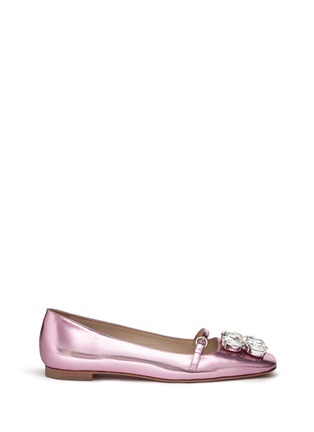 Main View - Click To Enlarge - Frances Valentine - 'Josephine' Swarovski crystal metallic leather flats