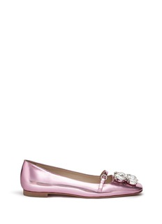 Frances Valentine 'Josephine' Swarovski crystal metallic leather flats