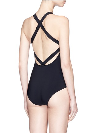 Back View - Click To Enlarge - WARD WHILLAS - 'Palmer' reversible high neck one-piece swimsuit