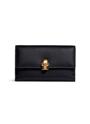 Main View - Click To Enlarge - Alexander McQueen - Skull clasp leather French wallet