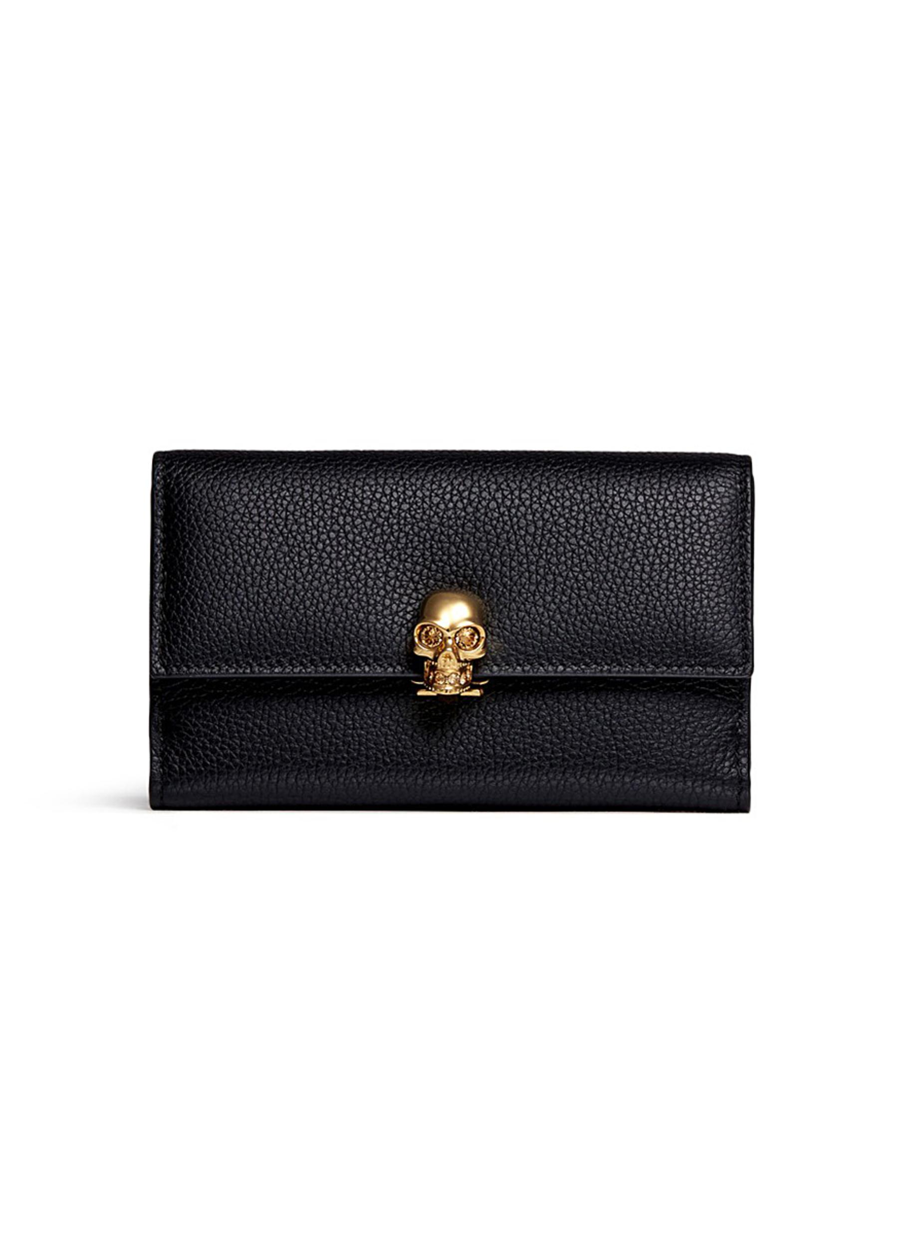 Skull clasp leather French wallet by Alexander McQueen