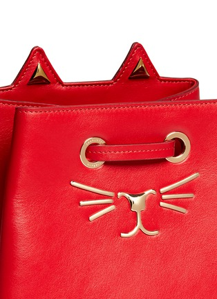 Detail View - Click To Enlarge - Charlotte Olympia - 'Feline' catface calfskin leather bucket bag