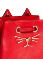 'Feline' catface calfskin leather bucket bag