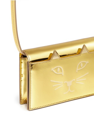 Detail View - Click To Enlarge - Charlotte Olympia - 'Feline' metallic leather crossbody bag