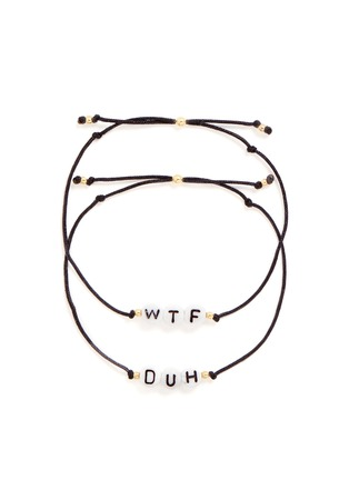 Main View - Click To Enlarge - Venessa Arizaga - 'WTF/DUH' bracelet set