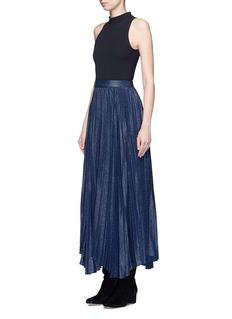 alice + olivia'Katz' metallic jacquard pleated midi skirt