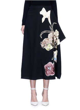 Main View - Click To Enlarge - Valentino - Floral patch print draped wool skirt