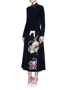 VALENTINO Floral patch print draped wool skirt