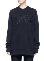 'Power of Love' embroidered slogan sweatshirt