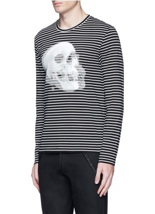 Front View - Click To Enlarge - Alexander McQueen - Optic skull print stripe jersey T-shirt