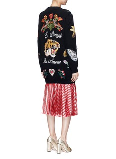 Gucci Embroidered wool rib knit cardigan
